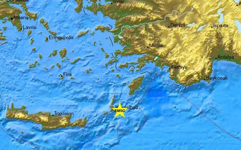 Σεισμός 5,2 Ρίχτερ ανατολικά της Καρπάθου