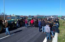 Συμβολικός αποκλεισμός πεζών αγροτών στον κόμβο Αερινού
