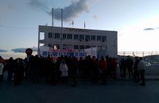 Παράσταση διαμαρτυρίας  στην  είσοδο του Λιμανιού  από σωματεία και φορείς ενάντια στο ΝΑΤΟ