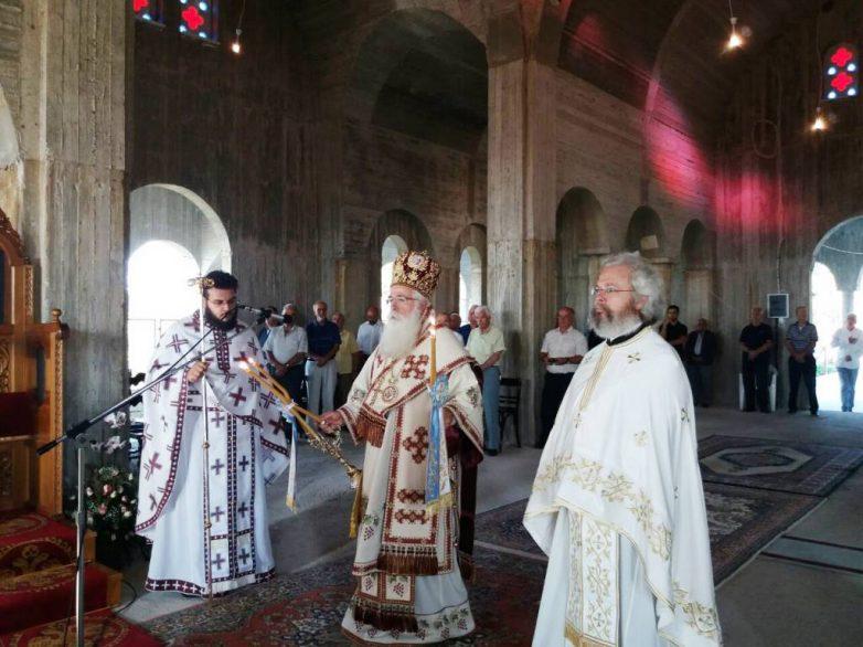 Στο υπό ανέγερση νέο Καθολικό η Θεία Λειτουργία στη Μονή Συκής