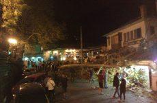 Έπεσε ο πλάτανος στην πλατεία Πορταριάς και προκάλεσε σοβαρές ζημιές