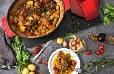 Μπακαλιάρος με λαχανικά στη γάστρα
