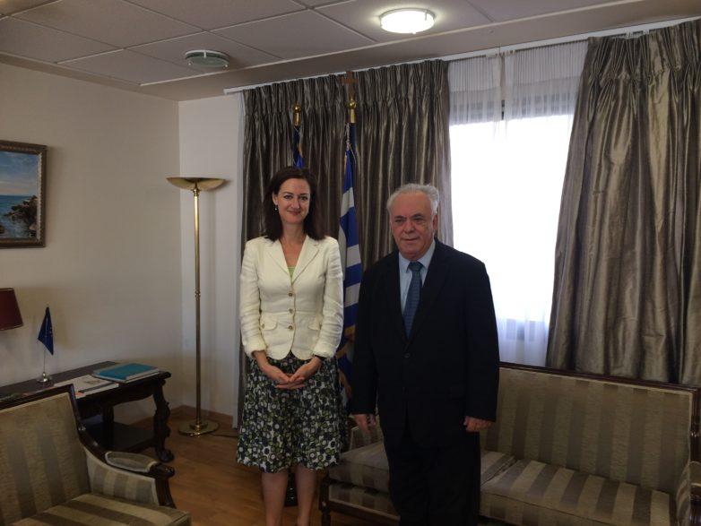 Συνάντηση αντιπροέδρου της Κυβέρνησης με την πρέσβη της Αυστραλίας στην Αθήνα