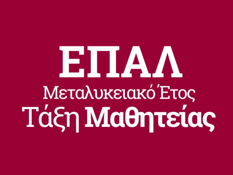 Επιτυχής ο θεσμός του«Μεταλυκειακού  Έτους- Τάξη Μαθητείας» των Επαγγελματικών Λυκείων