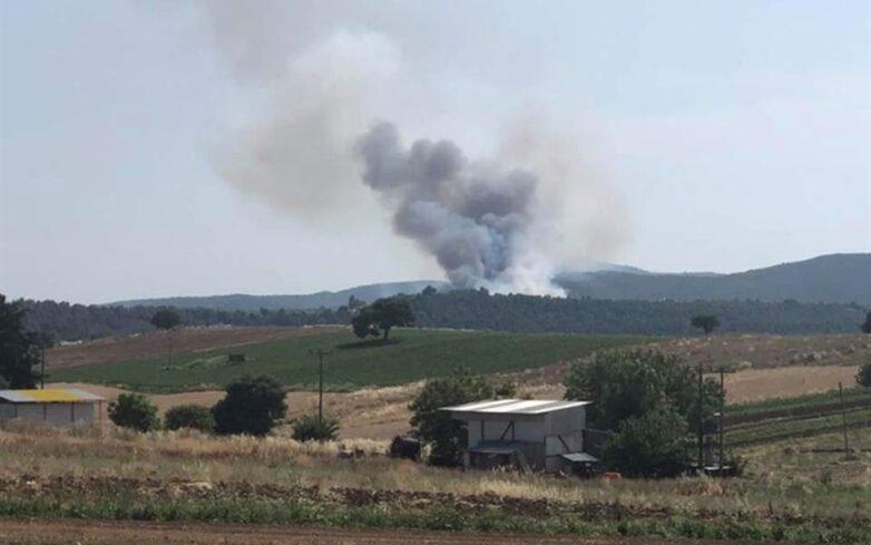 Φωτιά σε ξερά χόρτα στην Π.Ε.Ο. Βόλου-Λάρισας