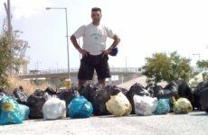 """Σακούλες σκουπιδιών έβγαλε από το πάρκο """"Νέας Ιωνίας """"ο αθλητής Ανδρέας Κεχαγιάς"""