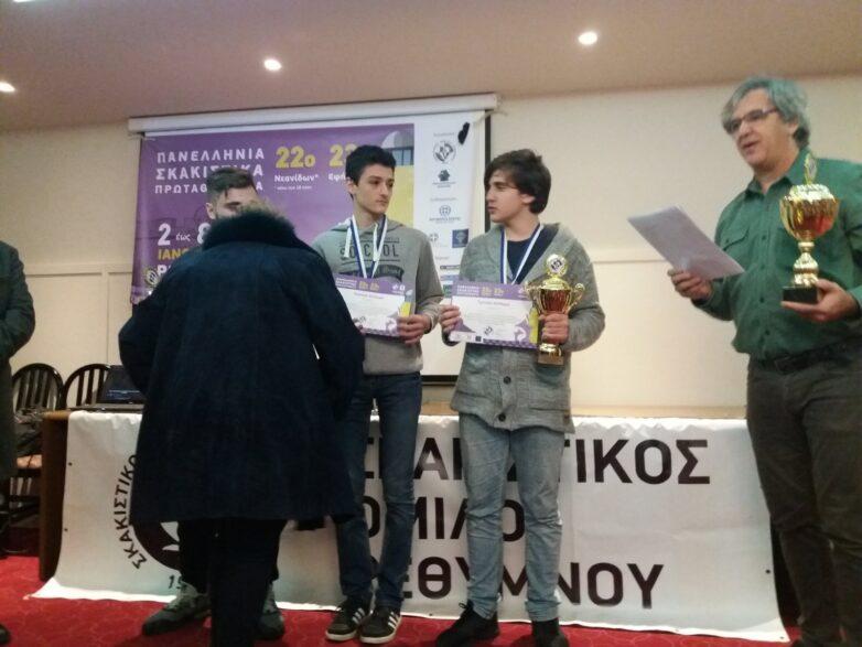 Δεύτερος ο Βολιώτης Τσαρσιταλίδης στο Πανελλήνιο Πρωτάθλημα Σκάκι μέχρι 18 ετών