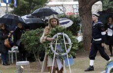 Κατάθεση στεφάνουστην εκδήλωση της Ισραηλιτικής Κοινότητας Αθηνών για τη μνήμη των θυμάτων του Ολοκαυτώματος