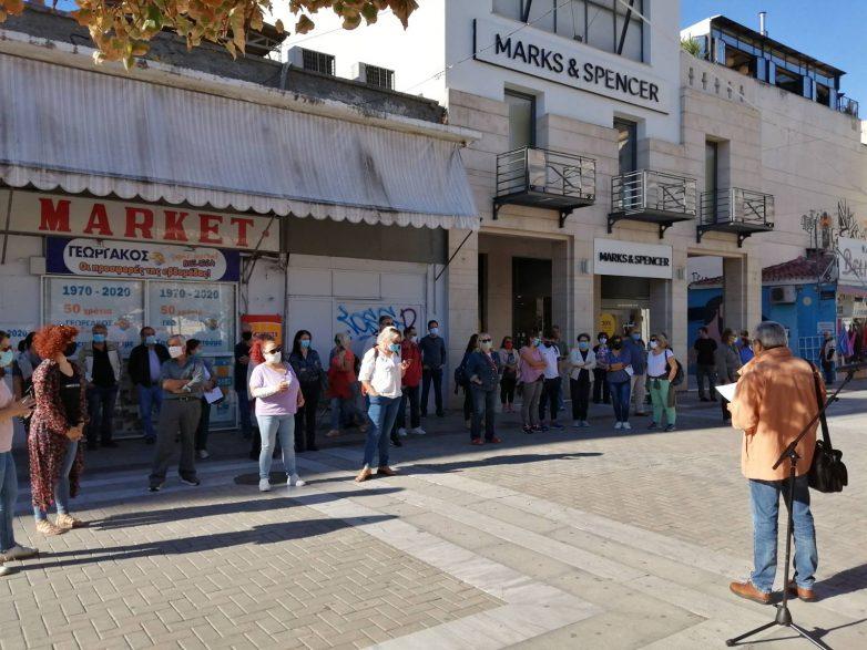 Απεργιακή συγκέντρωση δημοσίων υπαλλήλων στην πλατεία Αγίου Νικολάου
