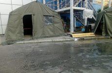 Στρατιωτικές σκηνές της 32ης ΤΞ/ΠΝ στο Νοσοκομείο Βόλου