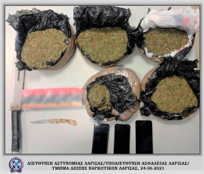 Σύλληψη τριών αλλοδαπών με πέντε κιλά κάνναβης στην Αγιά Λάρισας