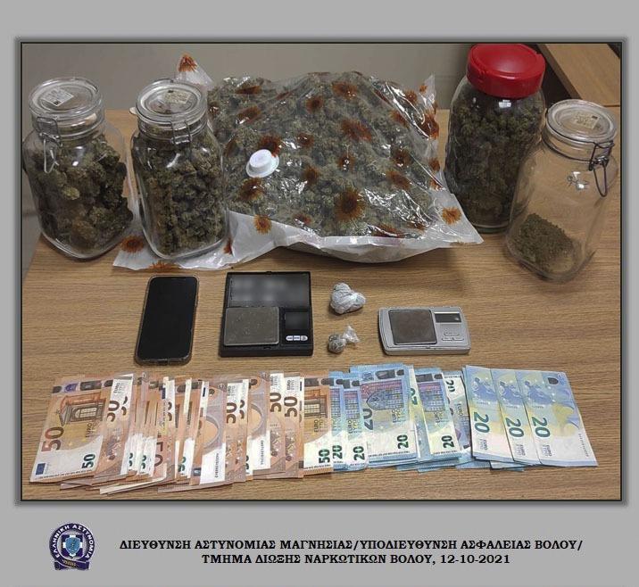 Δύο συλλήψεις για ποσότητα κάνναβης στο Βόλο
